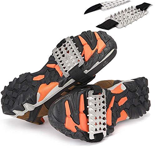 Tlyd Spikes De Hielo Al Aire Libre Universal 26 Diente De Velcro Atado Crampón Antideslizante De La Cubierta del Zapato Altura del Diente: 0.8Cm con La Placa 10Cmx5cm Acero Adecuado