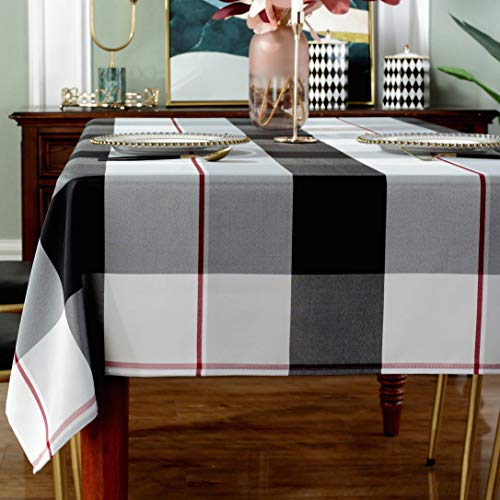 Rectangle Tablecloth Plaid Style Polyester Table Cloth Spillproof Dust-Proof Wrinkle Resistant Heavy Weight Table Cover for Kitchen Dinning Tabletop (Rectangle/Oblong, 60