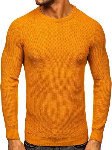 BOLF Hombre Jersey Cerrado Escote Redondo Pulóver Sweatshirt Cazadora Ropa de Abrigo Vestido Estilo Diario HAZARDE 4629 Camel M [5E5]