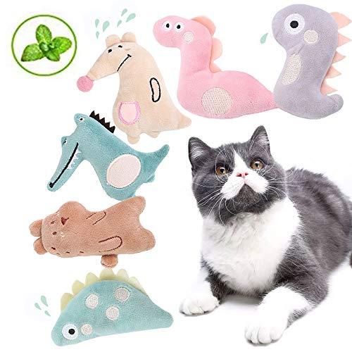 OneBarleycorn - 6 Stück Spielzeug mit Katzenminze, Niedlich Plüsch Katzenspielzeug Katzenminze Set | Katzenspielzeug Beschäftigung | Spielzeug Katze | Spiele für Katzen Kitten