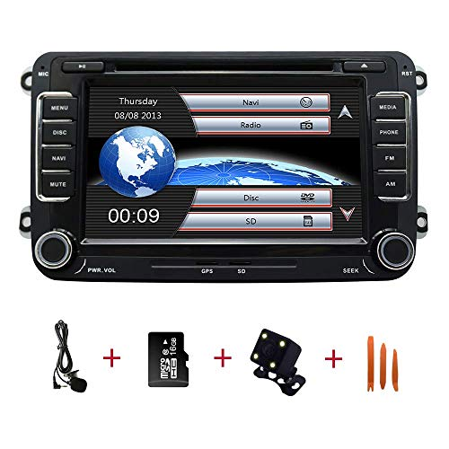 Auto In Dash Stereo Head Unit für Golf VW Skoda Seat, 7 Zoll Touchscreen 2 Din mit Navigation Bluetooth-Unterstützung Radio Lenkradfernbedienung DAB mit Rückfahrkamera, 16 GB SD-Karte, 3,5 mm Mikrofon