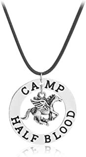 925 Silver Plated The Last Olympian Camp Pegasus Zeus Engraved Half Blood Percy Jackson Pendant Necklace