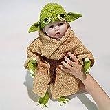 MJJ Disfraz de bebé Yoda de 36 cm, Accesorios de fotografía, Traje Tejido a Mano, Novedad, Disfraz de Halloween de Yoda para niños pequeños, Cosplay para bebés de 0 a 6 Meses, niña