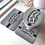 Dopy San Antonio Bathroom Rugs Basketball Fans Set 3 Piece Mat Set Bath Rugs Antiskid Pad+ Contour Mat + Toilet Lid Cover