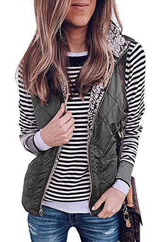 LAMISSCHE Womens Warm Sherpa Fleece Zip Up Reversible Vest Sleeveless Lightweight Jacket Outwear with Pockets(Dark Grey,L)