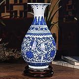 HGFDSA Vasi Vintage in Stile Cinese Blue Bianco Vaso in Porcellana Vaso Decorativo Vaso per La Famiglia, Fatto a Mano, Vaso Floreale, Vaso di Ceramica, Barattolo,Leaves 7