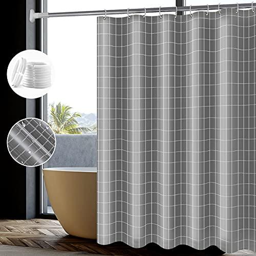 Wasserdicht Duschvorhang 180x180,Antischimmel Polyester Duschvorhänge Grau Textil Waschbar,Waschbar,Schwer Saum Shower Curtains mit 12 Plastik Hochwertiges Duschvorhangringe für Badewanne und Bathroom