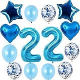 Hongyantech 22 globos con el número 22 para cumpleaños de niño, kit azul, tamaño XXL, globos con número 22 de helio, globos de color azul para 22 cumpleaños de niño,