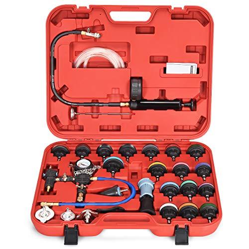COSTWAY 28-TLG. Kühlsystem Prüfgerät Kühler Drucktester Werkzeug Vakuum Abdrückgerät Prüfer Kühler (Rot)