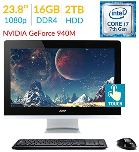 Acer Aspire AZ3 23.8 inches Touch FHD (1920x1080) All-in-One Desktop PC, 7th Gen Intel Quad Core i7-7700T 2.9Ghz, 16GB DDR4, 2TB HDD, DVD-RW, HDMI, Windows 10 (Renewed)