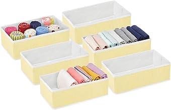 mDesign zestaw 6 pudełek do przechowywania - organizer do sypialni na bieliznę, skarpetki, biustonosze i akcesoria - przec...