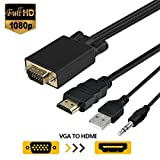 VGA to HDMI Cable, VGA to HDMI Adapter Converter Cable with Audio for Connecting Old PC, Laptop with a VGA Output to New Monitor, HDTV (Male to Male)