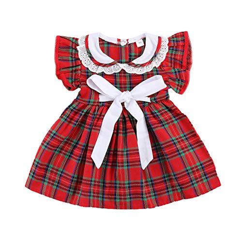 Baby Girl Christmas Dress Matching Newborn Girl Bodysuit Plaid Lace Princess Skirt Family Clothing (Dress A, 2-3 Years)