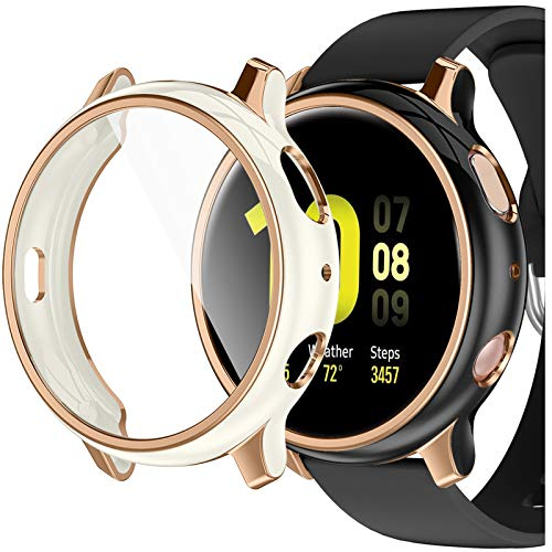 GEAK Compatible with Galaxy Watch Active 2 Case 40mm Screen Protector, 2 Pack Stylish Colors Soft Full Cover HD Screen Protector Case for Samsung Galaxy Active 2 Smartwatch 40mm Black/Cream
