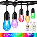 2-Pack 48FT Color Changing Outdoor String Lights, RGB LED String Light with 30+5 E26 Edison Bulbs, Dimmable Commercial Patio café Backyard Garden lights,3 Remote Controls, Waterproof , 96FT total