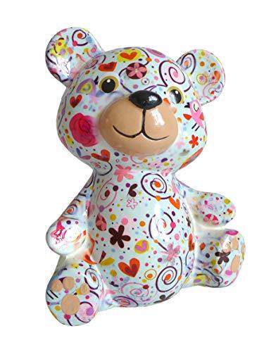 Pomme Pidou Spardose Bär hellblau mit Blumen Sparbüchse Teddy Sparschwein Geldgeschenk Geschenk