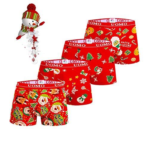 TrendyBoy Calzoncillos bóxer de algodón navideños para niños Ropa Interior 2-12 años Calzoncillos Paquete de 4...