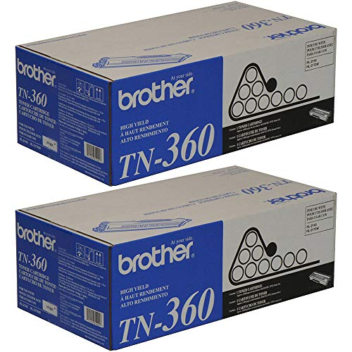 Brother Genuine TN360 2-Pack High Yield Black Toner Cartridge with approximately 2,600 page yield/cartridge