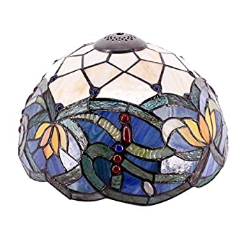 Tiffany Lamp Shade Replacement W12H6 Inch Blue Stained Glass Lotus Lampshade Only For Table Lamps Ceiling Fixture Pendant Light S220 WERFACTORY Living Room Bedroom Office Study Nightstand Desk Bedside