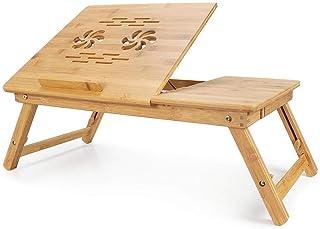 Todeco - Table Portable pour Ordinateur, Plateau de Lit Pliable - Matériau: Bambou - Dimensions de la surface de la table:...