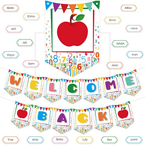 Welcome Back Banner Decorations Classroom Decoration Welcome Back Banner, Pre Strung Chalkboard Brights Pennants Welcome Back Bulletin Board Banner for Classroom Back to School Teacher Supply (White)
