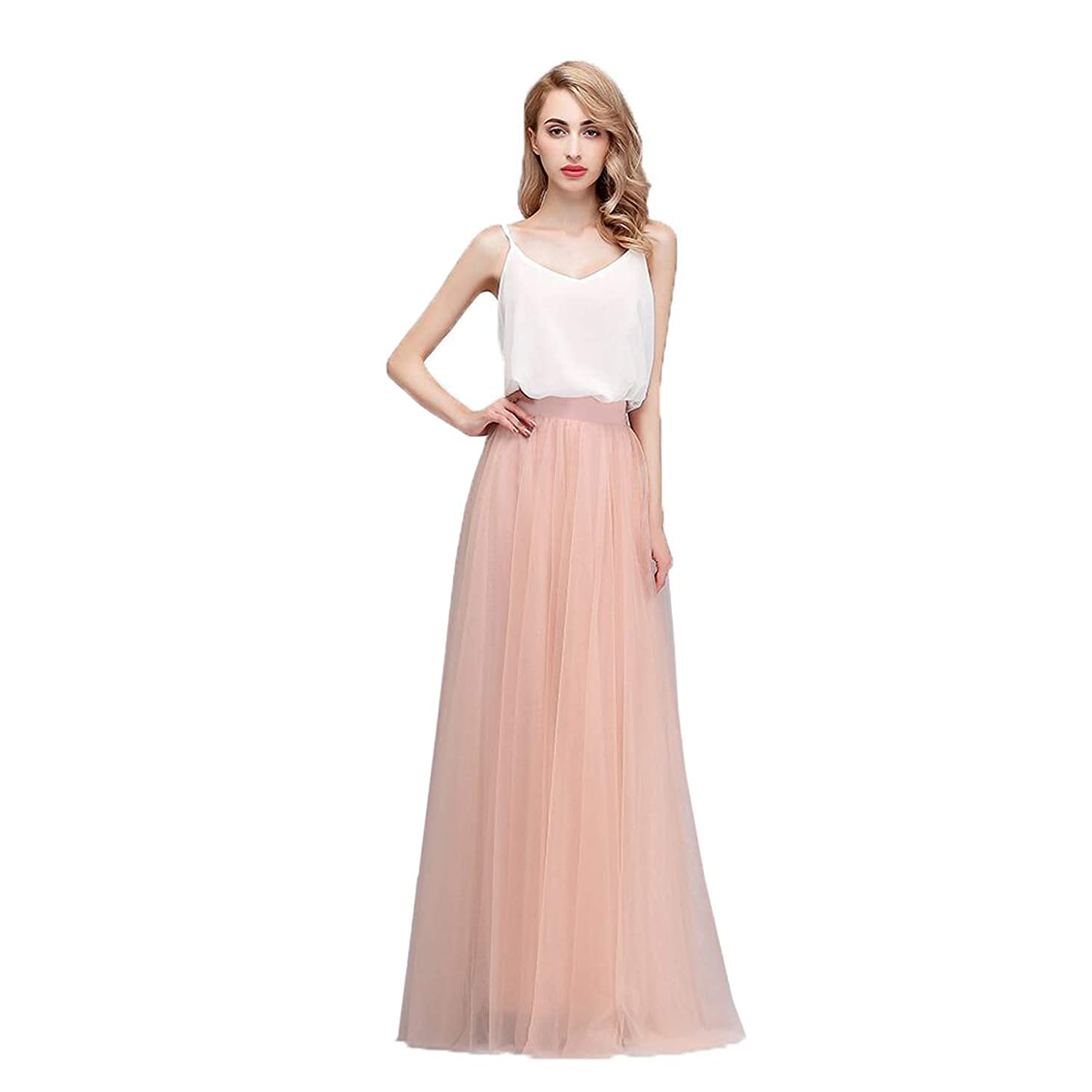 Honey Qiao Women's Maxi High Waist Skirts Blush Tulle Holiday Formal Skirt