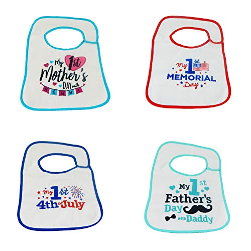 Hello Baby Wonder Baby's First Mother's Day, Memorial Day, Father's Day, July 4th Bib Set - 4pk