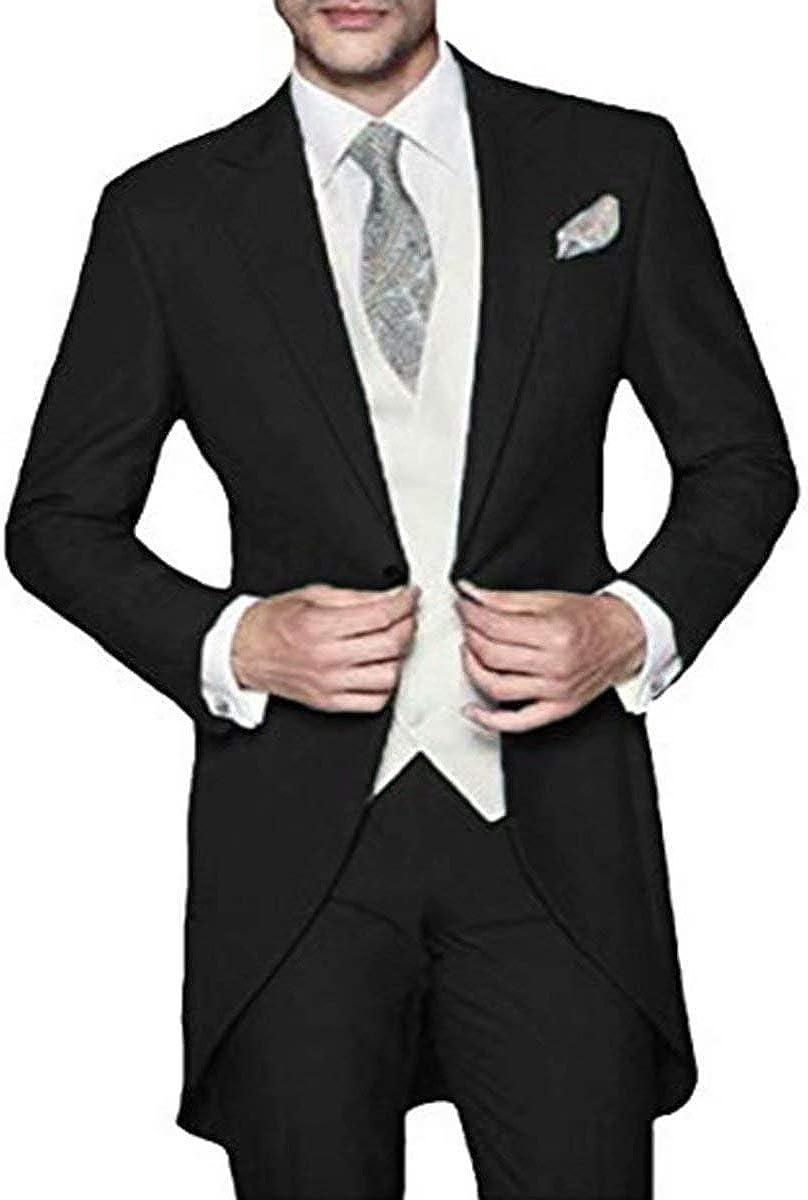 RONGKIM Men's 3 Piece Classic Fit Tuxedo Suit Tailcoat Tailcoat Tail Coat Suit Jacket & Trousers