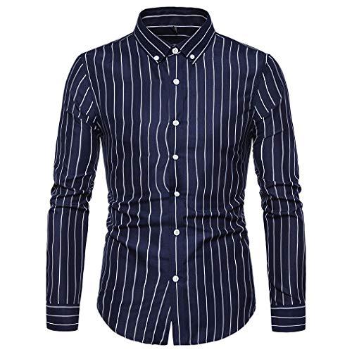KUKICAT Langärmliges Hemd Classic Herren Sommer Button Shirt, Vintage Leinen Volltonfarbe Kurzarm T-Shirt Top, Casual Leinen Baumwolle Ärmel Top gestreiftes Hemd