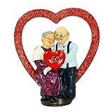 Aoneky Figurina da Vecchia Coppia in Resina - Regalo di 50th 60th Anniversario per Matrimonio d'oro, Genitori, San Valentino -Decorazione per Famiglia (Cuore 60)