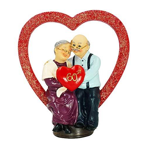 Aoneky Figura para Bodas de Diamante - Figura de Pareja de Ancianos en Corazón, Regalo de 60 Aniversario Bodas de Diamante para Padres Abuelos Ancianos, Estatua de Resina