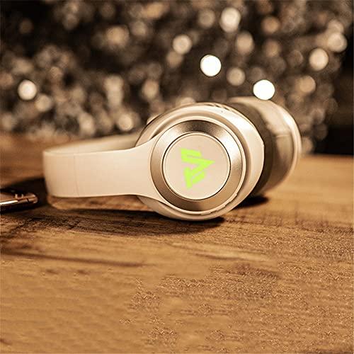 XJPB Auriculares inalámbricos con micrófono sobre el oído Auriculares Ejercicio Estéreo Deep Bass 7.1 Sound Sound Soft Earmuffs PC TV Auriculares para Oficina/Gimnasio,Blanco