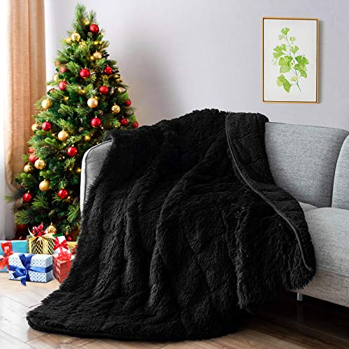 Lofus Faux Fur Weighted Blanket,Snuggly Luxury Shaggy Longfur Heavy Blanket, Warm Elegant Cozy Plush Sherpa Microfiber Furry Blanket for Couch Sofa Chair Home Decor, 60'x80' 20lbs Black