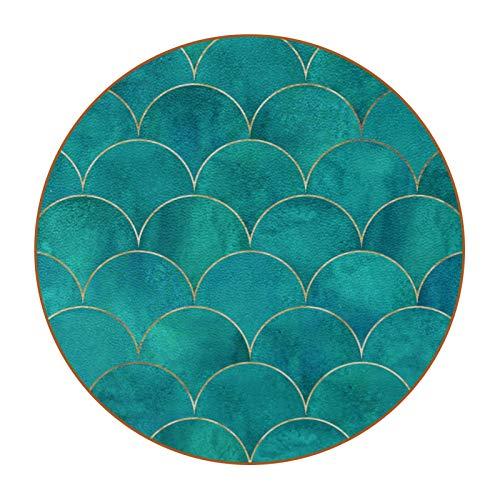 6 posavasos redondos de microfibra de piel para bebidas, posavasos decorativos para tipos de tazas y tazas, escamas de pescado Wavemermaid turquesa