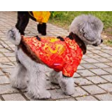 DELIFUR Dog Winter Coat Chinese Style Tang Suit Pet Dog Costume Warm Fu Character Tang Costume Happy New Year Cheongsam for Small Dogs Cats (S)