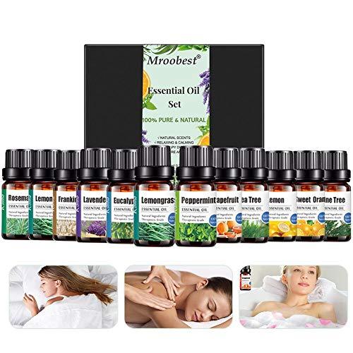 Huiles Essentielles, Essential Oils Set, 100% Pures et Naturelle Bio Huiles Essentielles Aromathérapie pour Diffuseurs pour Sauna, SPA, Massage, Bain Idéal Coffret Cadeau pour Fête (12 x10 ml)