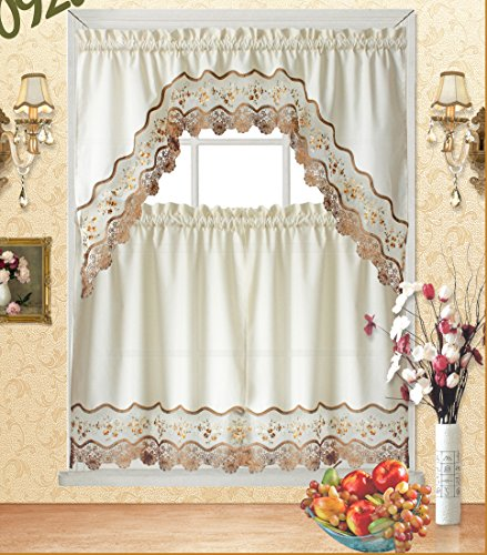 Fancy Collection 3pc Beige with Embroidery Floral Kitchen/Cafe Curtain Tier and Valance Set 001092 (60' x 38', Gold/Beige/Beige)