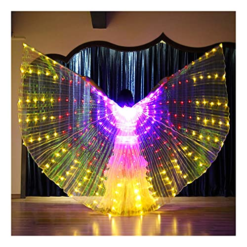 SUKDO Alas De ngel ISIS LED para Mujer, Alas De Danza del Vientre, Ropa De Baile para El Escenario, para Cosplay, Fiesta De Navidad, Disfraz De Carnaval,C