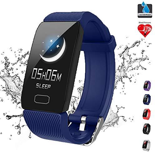 GWSPORT Smart Armband Aktivität Fitness Tracker, Pulsuhren Blutdruck Pulsoximeter Schlaf Monitor, Anruferinnerung IP67 Smart Armbanduhr Für Frauen Und Männer,Blau