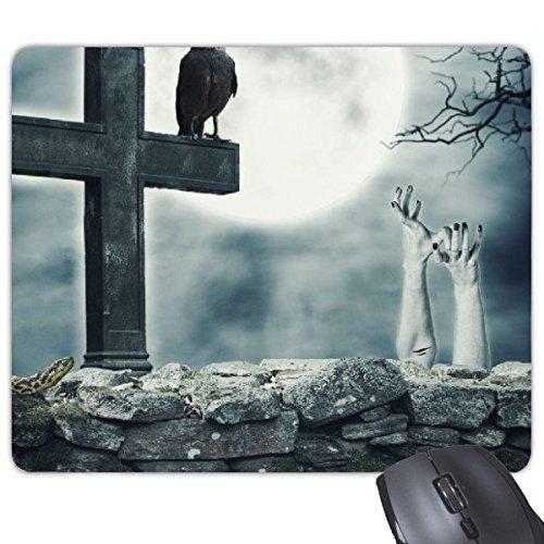 Religie Christendom Donkere Nacht Maan Crow Snake Handen Cross Horror Illustratie Patroon Rechthoek Antislip Rubber Mousepad Game Mouse Pad