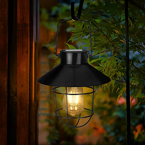 Solar Lantern Outdoor Hanging Lights Solar Powered Decorative Retro Waterproof LED Bulb Metal Lantern Lamp with Handle for Garden Yard Porch Fence Tabletop