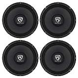 4) Rockville RM108PRO 10' 2400 Watt 8-Ohm SPL Car Midrange Mid-Bass Pro Speakers