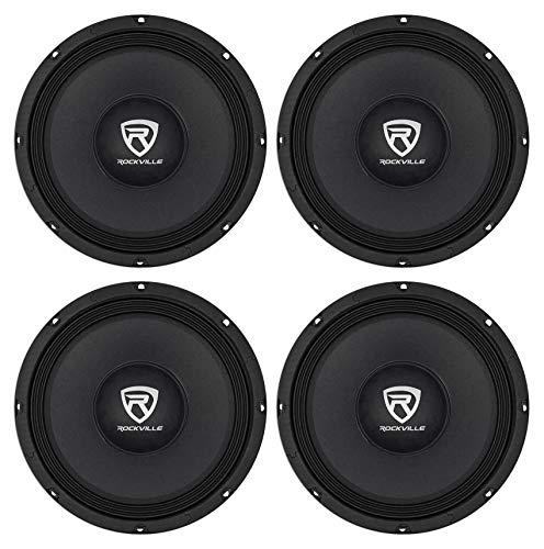 "4) Rockville RM108PRO 10"" 2400 Watt 8-Ohm SPL Car Midrange Mid-Bass Pro Speakers"