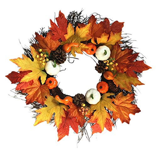 DOITOOL Fall Wreath Front Door Wreath with Maple Leaf Pumpkin Pine Cone Berries Garland Harvest Wreath for Halloween Thanksgiving Christmas Home Indoor Outdoor Decoration
