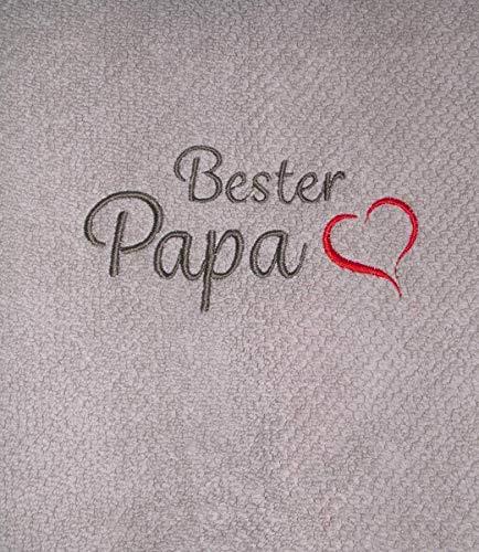 Besticktes Handtuch Bester Papa mit Herz Frotteetuch Geschenk - Hochwertige Quailität