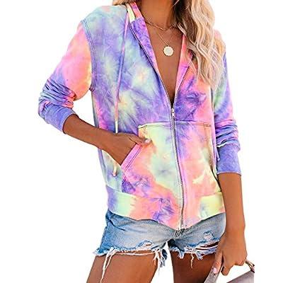 Women's Full Zipper Tie Dye Hoodies Pullovers Long Sleeve Sweatshirts Tops with Pockets