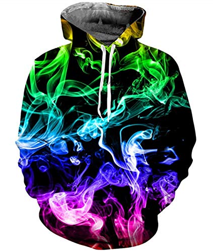 Idgreatim Womens Colorful Smoke Hoodies 3D Print Long Sleeve Crewneck Hooded Sweatshirt M