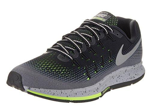 NIKE Men's Air Zoom Pegasus 33 Shield Black/Metallic Silver Dark Grey Running Shoe 10.5 Men US