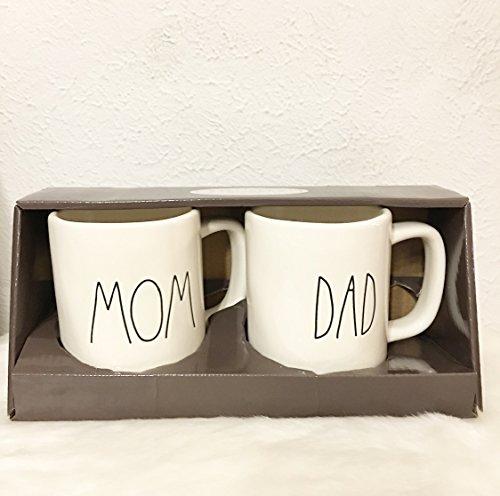 Rae Dunn MOM & DAD Mugs / Cups Christmas Set of 2