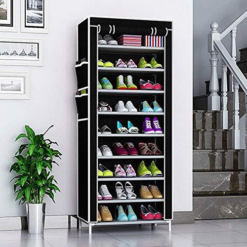 AllRight Schuhregal 10 Ebenen Schuhständer Schuhablage Schwarz Stecksystem Schuhschrank Schuhe